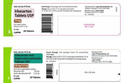 Recall alert: Lupin Pharmaceuticals recalls irbesartan